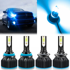4pcs for Dodge Ram 1500 2500 3500 2011-2019 LED Headlight High Low Beam Package Kit Ice Blue