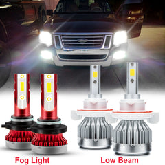 4pcs LED High Low Beam Headlight Fog Light Bulbs Kit White 6000K for Ford Explorer 2006-2010/Fit Ford Expedition 2007-2014