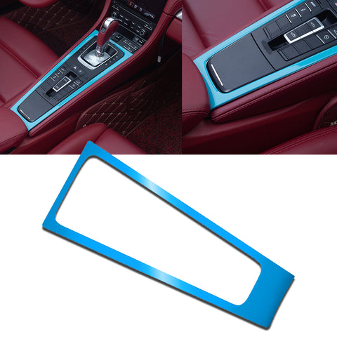 1pcs Red / White / Blue ABS Car Central Console Gear Shift Console Panel Decor Cover for Porsche 911 Boxster Cayman 2013-2019