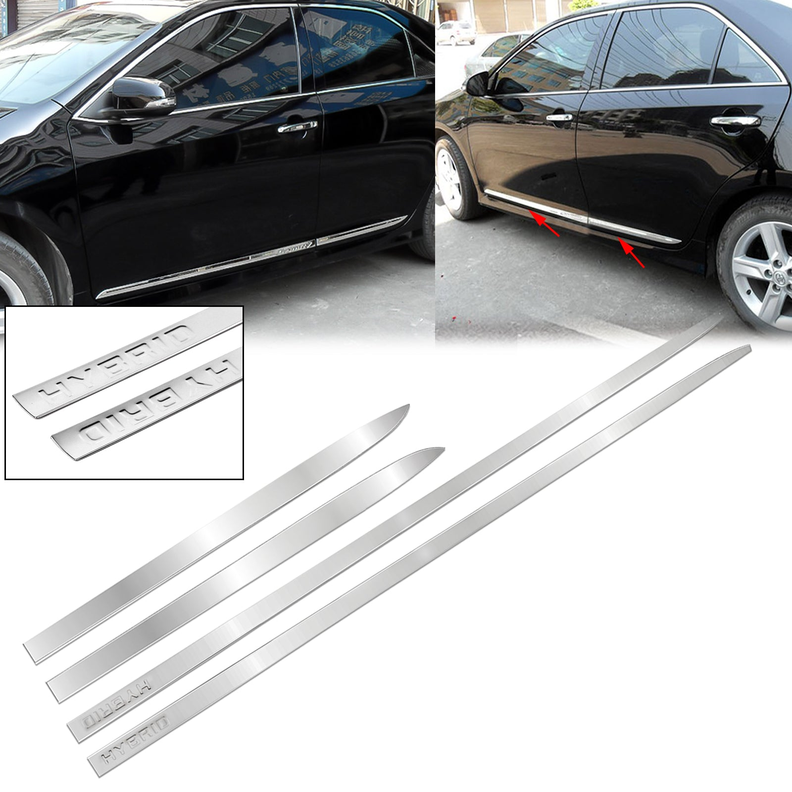 for RAM 1500 2012-2018 OMAC USA Stainless Steel Chrome Side Body Molding Protector Double Sliding Door Trim 4 Pcs