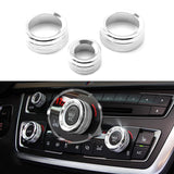 3pcs Red/Silver AC Climate Control Radio Volume Knob Ring Covers For BMW 1 2 3 3GT 4 Series