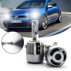 2x H7 6000K White LED Headlight Kit with Retainer Adapter Clip Holder, 8400LM High Low Beam Headlight Bulb Conversion Kit