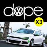 3pcs DOPE VW Inspired Volkswagen Die Cut Stickers For Drift Car Truck Window Funny Decal Reflective Vinyl