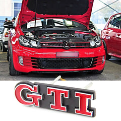 1x GTI Front Grille Badge for VW GTI GOLF MK1 MK2 Grill Chrome Auto Emblem Red