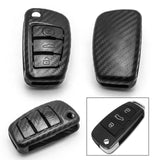 Matte Carbon Fiber Finish Key Fob Case for Audi A3 A4 A6 Q5 Q7 TT 3-button Folding Key, Full Protection Keyless Remote Key Hard Shell Cover