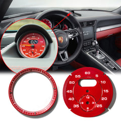 Guard Red / Racing Yellow Dial Gauge Face Cover Trim Sporty Chrono Decorative Overlay for Porsche Macan Boxster Cayman 991