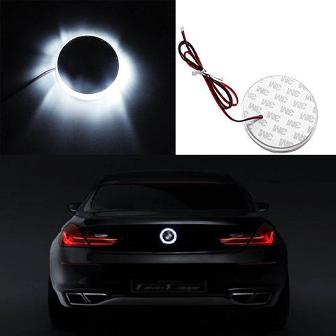 1x Ultra White Color 82mm Truck Hood Emblem - Round LED Illuminated Emblem Background Light Lighting Kit For BMW 3 4 5 6 7 X M Z Series X3 X5 X6