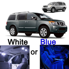 12 x LED SMD Full Interior Lights Package Kit for 2005 - 2015 Nissan Armada White \ Blue