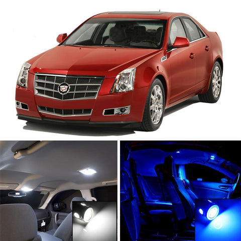 2007 - 13 Cadillac CTS CTS-V Sedan 10-Light SMD LED Interior Lights Package Kit White \ Blue