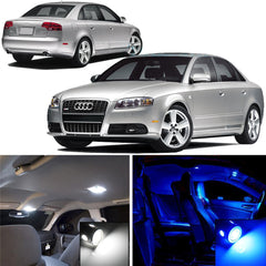 2008 - 2013 Audi B8 model A4 S4 10x-Light LED SMD Full Interior Lights Package Kit White \ Blue