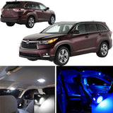 7x-Light LED Full Interior Lights Package Kit White \ Blue for Toyota Highlander 2008 - 2013