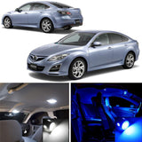 2009 - 2012 Mazda6 Mazdaspeed6 6-Light LED Full Interior Lights Package Kit White \ Blue