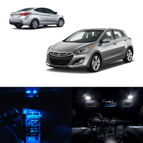 7x Light Bulbs SMD Interior LED Lights Package Kit For 2011-2015 Hyundai Elantra White\ Blue