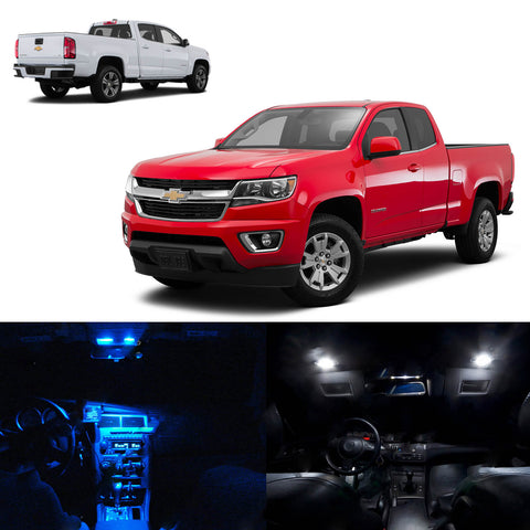 10x Light Bulbs SMD Interior LED Lights Package Kit For 2015 & up Chevy Colorado White\ Blue