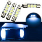 4pcs Xenon White / Ice Blue3-SMD 6641 Fuse LED Replacement Bulbs For Visor Vanity Mirror Lights Package Fit