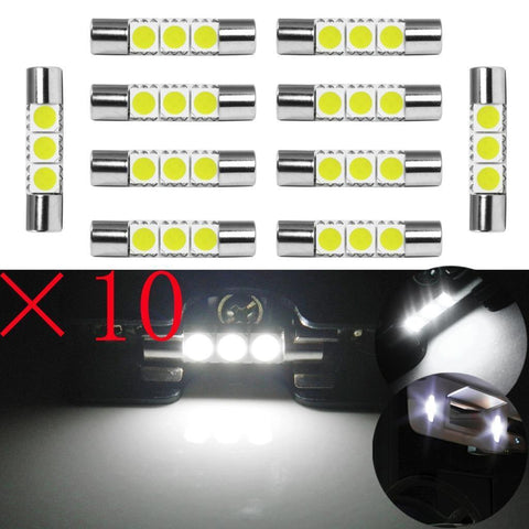 "10x 29mm 6641F Super Bright White 1.15"" 3-SMD LED Festoon Bulbs For Vanity Mirror Lights"