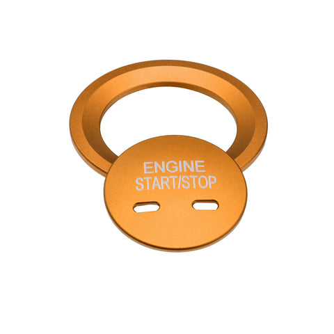 Blue/ Gold/ Red/ Silver Keyless Engine Start Stop Button Cap with Surrounding Trim Ring for Chevy VW Cadillac GMC