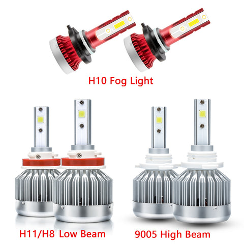 6pcs for Ford F-150 2015-2019 LED Headlight High Low Beam + Fog Light Bulb Combo 6000K Xenon White Extremely Super Bright