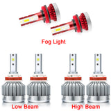 6pcs LED Headlight High Low Beam + Fog Light Bulb Upgrade Package Kit 6000K Xenon White for Toyota Tacoma 2016-2019