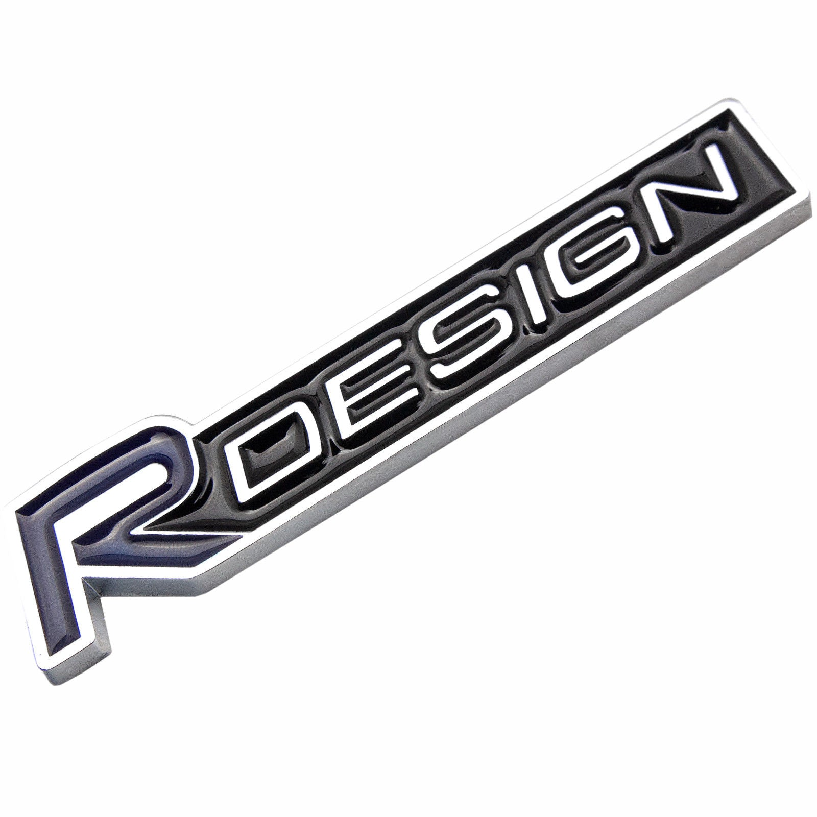 Silver/Black Metal R-Design Letter Emblem Trunk Lid Side