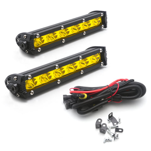 Yellow LED Daytime Running Light Kit w/ Relay Wire Harness Universal for Car, High Power 18W Driving Lamp DRL Kit for SUV Vehicle