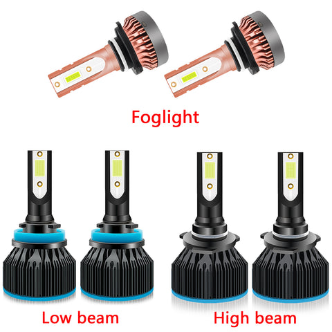 6pcs LED Headlight High Low Beam Fog Light Bulb Ice Blue 8000K for Ford F-150 2015-2019, Extremely Bright LED Headlight Fog Lamp Package Set