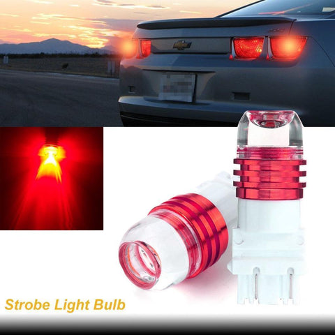 2pcs 3157 T25 Flashing Strobe Light Red LED Bulb Lamp Fit Brake Stop Tail Light