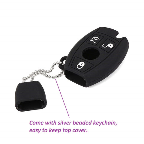 Silicone Key Fob Case Cover Full Sealed Key Protector for Mercedes Benz C E S CLS CLA GL Class 3-button Smart Key