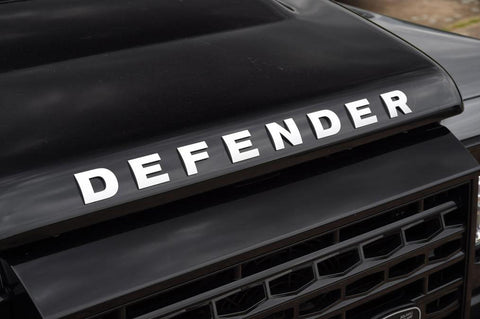 Auto Front Hood Logo Emblem DEFENDER Letter Badge for Land Rover - 1 Set Matte Silver Chrome/ Black ABS