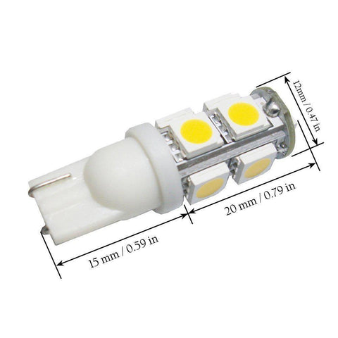10x T10 168 194 LED White\ Blue 501 W5W 9-SMD Side Wedge License Light Bulbs 2825 192