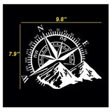 Car Home Decor - Compass Rose with Mountains Vinyl Decal Sticker for Car Trunk Door Window Hood, Shop Window, White