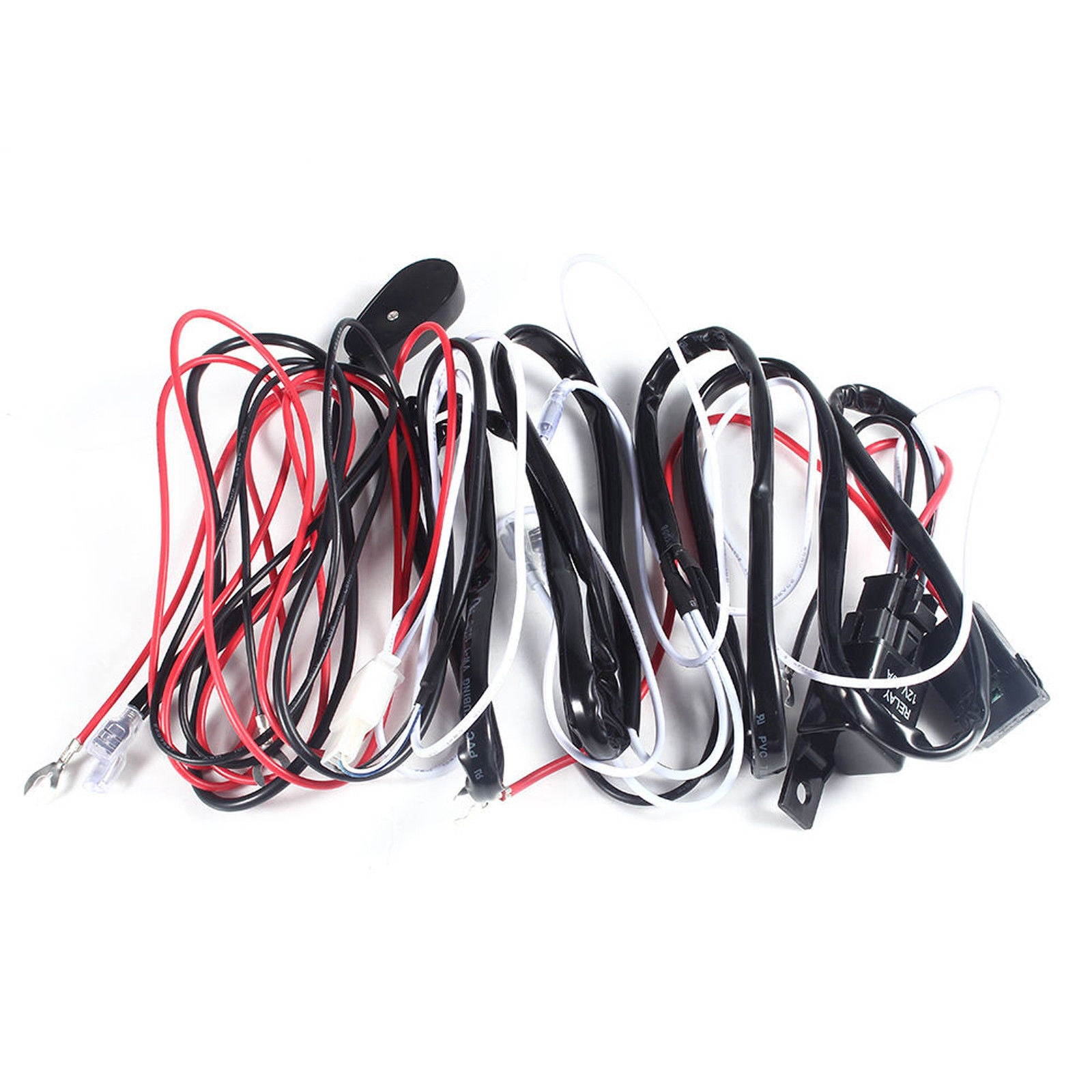 Universal 9ft Relay Wiring Harness Kit For Led Work Light Bar Off 40a On Switch 1 To Road 72w