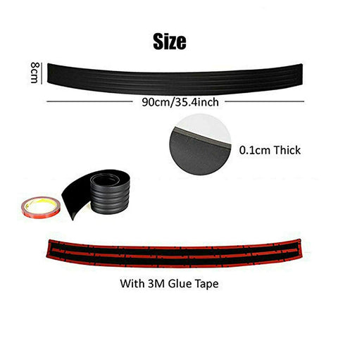 Black Flexible Rubber Trunk Door Entry / Rear Bumper Guard for Most Cars 36 Inches