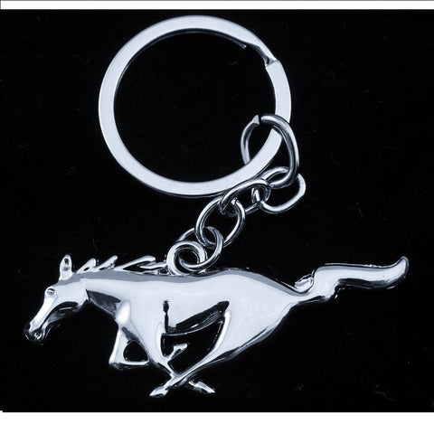 Xotic Tech Chrome Pony Horse Key Chain Fob Ring Keychain for Mustang GT 500 Cobra Shelb