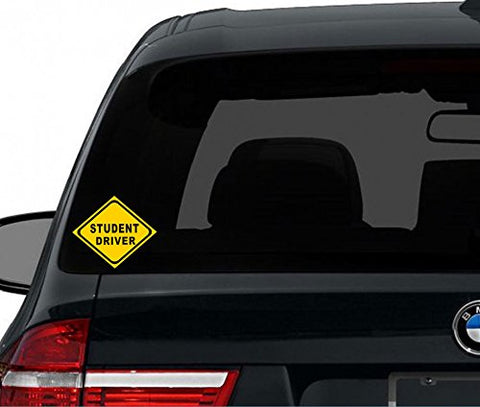 "7"" Student Driver Yellow Safety Sign Car Window Die-Cut Graphic Vinyl Decals for SUV Truck Car Bumper, Laptop, Wall, Mirror, Motorcycle"