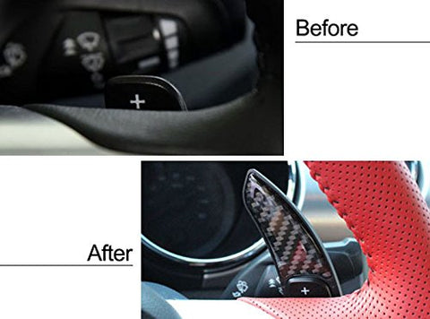 Pure Real Carbon Fiber Steering Wheel Paddle DSG Shifter Extension for Mustang 2015 2016 2017