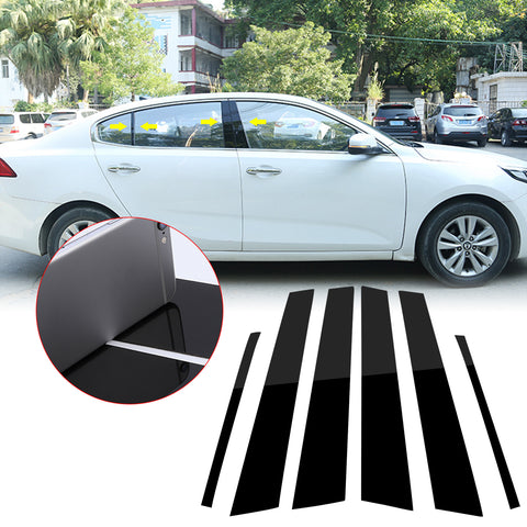 6pcs Reflective Black Exterior Window Pillar Posts Molding Pre-Cut Cover Side Door Trims For Honda Civic Sedan 2006 2007 2008 2009 2011