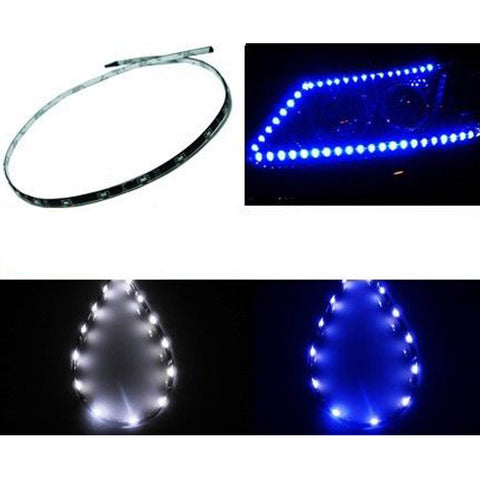"1Set White\Blue 15-SMD LED 12"" Headlight Parking DRL Driving Strip Lights Universal"