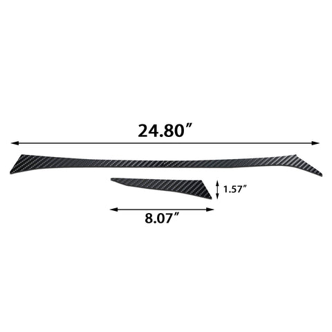 2pcs Carbon Fiber Pattern Dashboard Console Panel Strip Cover Molding Trim for Infiniti Q50 2014-2019
