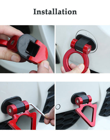 Red Triangle Shape Track Racing Tow Hook Stick Decoration Universal for Car SUV Truck