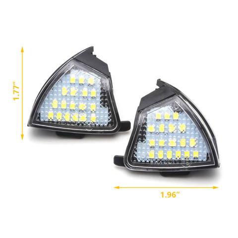 LED Side Mirror Puddle Light Assembly for Volkswagen Golf 5 Mk5 MKV Passat Jetta Eos, 18-SMD White Super Bright LED Side Under Mirror Puddle Lamp Rear View Mirror Puddle Light