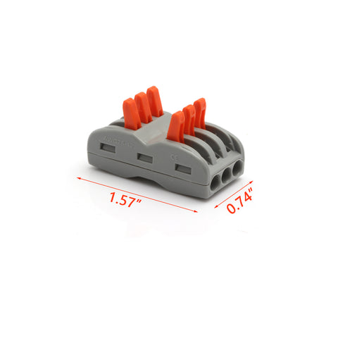 10pcs Lever Nut Wire Connector Compact Splice Wiring Connector Lever-Nut 3 Conductor for 3 Circuit Inline 28-12 AWG