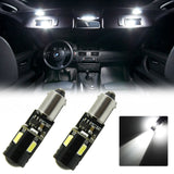 2x White\ Amber BA9S 9W CREE LED Bulbs Vehicle Car Map Light 1895 H6W 53 57