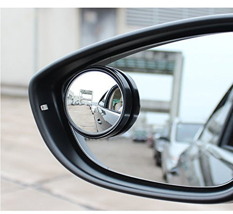 2 pcs Black Round Wide Angle Convex Rear View Stick On Blind Spot Mirror For Car Truck SUVs Motorcycle 1.5""