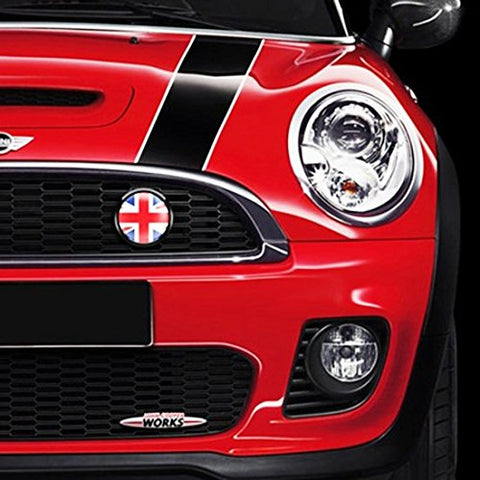 1 Set Front Grill Badge w/ Holder Fit All MINI Cooper R50 R55 R56 R57 R558 R60 UK Flag (Red/Black)