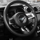 1 Set Real Carbon Fiber Steering Wheel Insert Decoration Cover Emblem Sticker for 2015 and up Ford Mustang
