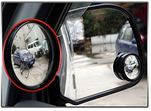 2 pcs Black Round Wide Angle Convex Rear View Stick On Blind Spot Mirror For Car Truck SUVs Motorcycle