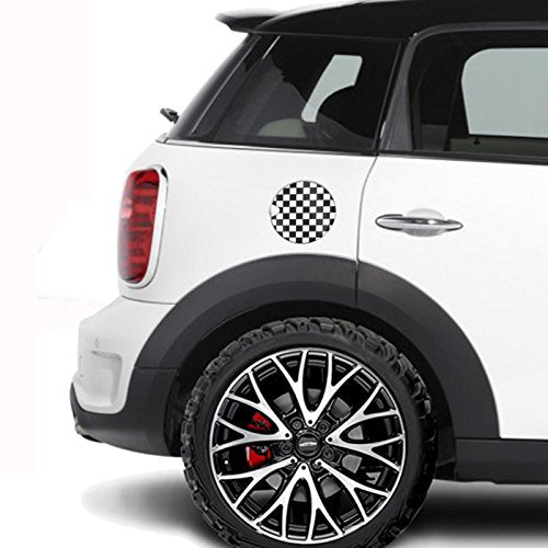 Black White Check Flag Checkered ABS Sticker Cover Trim Cap for Mini Cooper ONE S JCW F Series F60 Countryman 2017 6.6 Screen Display Right Hand Drive