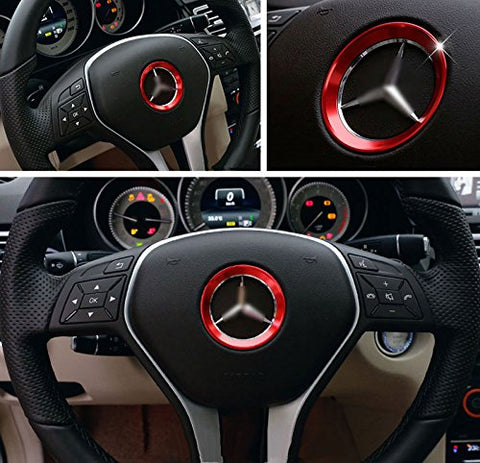 Glossy Car Steering Wheel Center Logo Ring Trim For Mercedes Benz B C GLK