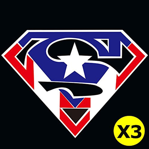 3pcs Superman Fan American Flag Logo Car Window Die-Cut Graphic Vinyl Decals for SUV Truck Car Bumper, Laptop, Wall, Mirror, Motorcycle